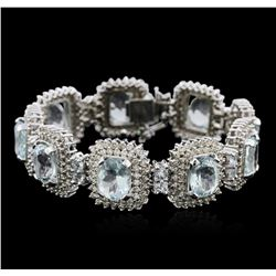 14KT White Gold 38.79 ctw Aquamarine and Diamond Bracelet