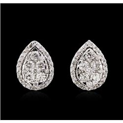 0.95 ctw Diamond Earrings - 14KT White Gold