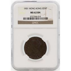 1901 Hong Kong Cent Coin NGC MS62BN