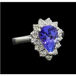 2.28 ctw Tanzanite and Diamond Ring - 14KT White Gold