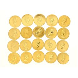COINS:  [20]  Canadian Gold Maple Leaf fifty dollar 1 ounce (.999) fine gold coins;  [assorted dates