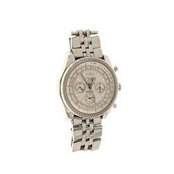 WATCH: Men's stainless steel Breitling for Bentley 6.75 chronograph wristwatch, silver-white dial w/