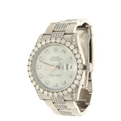 WATCH: [1] Stainless steel Rolex Oyster Perpetual wristwatch set with aftermarket diamonds; Light bl