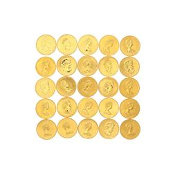COINS: [25] Canadian Gold Maple Leaf fifty dollar 1 ounce (.999) fine gold coins; [assorted dates]