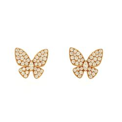 EARRINGS:  [1 pair] 18 karat rose gold butterfly earrings set with 2 marquise and 76 round diamonds,