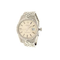 WATCH:  [1] Stainless steel gents Rolex Oyster Perpetual Date watch with a silver dial and stick hou