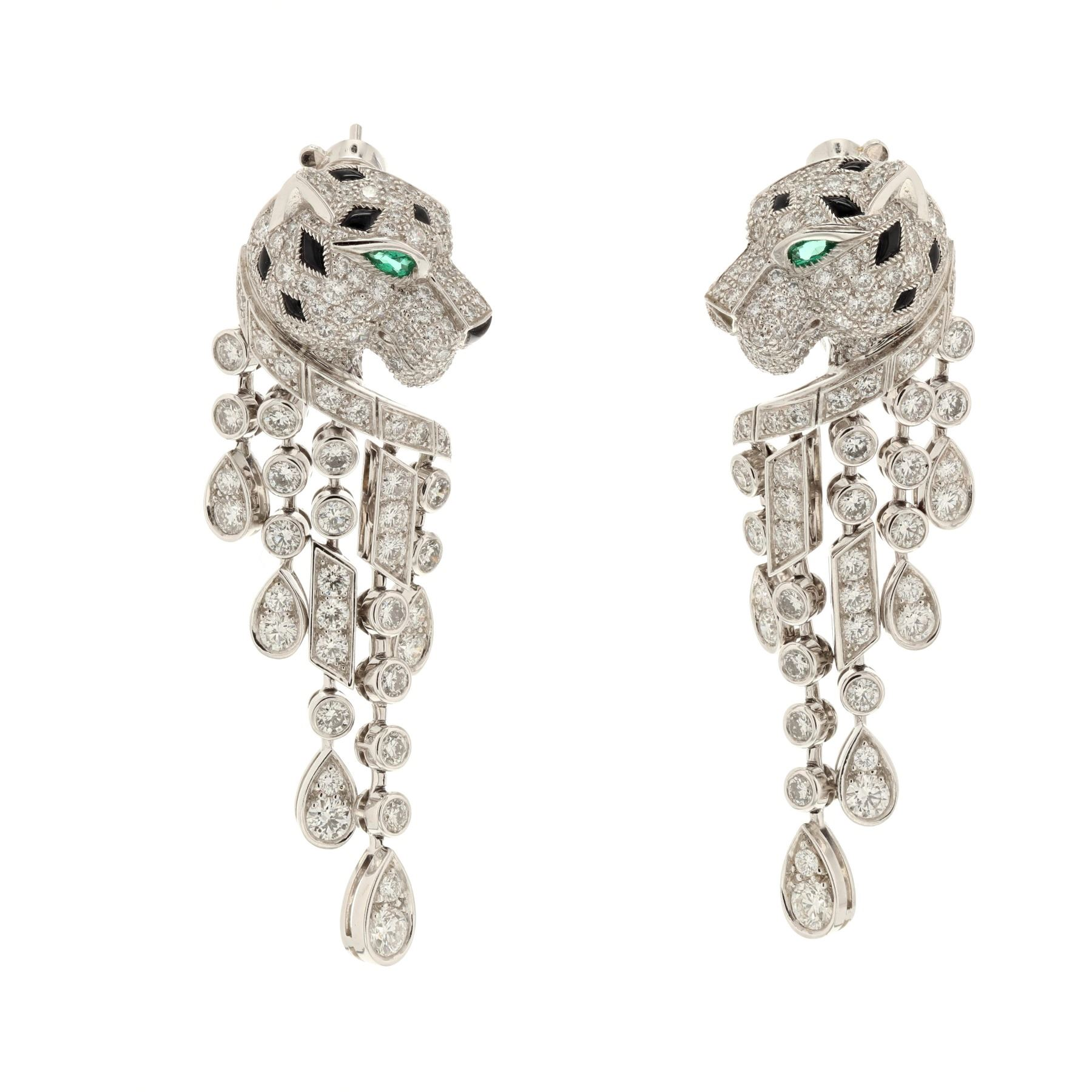 Earrings 1 Pair Platinum Cartier Panthere Set With 310 Round Diamonds Rox 5 63 Car