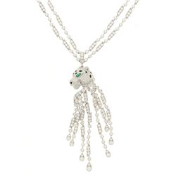 NECKLACE:  [1] Platinum necklace by Cartier with a Panthere pendant and tassels set with 574 round d