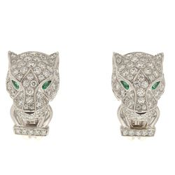 EARRINGS:  [1 pair] 18 karat white gold Cartier Panthere earrings set with 152 round diamonds, appro