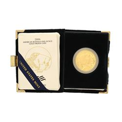 COIN: 2006-W US American Buffalo $50 gold proof coin; 9999 AU, 1 ounce size; in blue US mint box  co