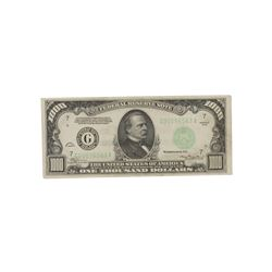 PAPER CURRENCY: 1934 U.S. $1000 bill; Serial Number G00096563A.