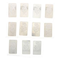 BULLION: [11] NTR Metals 2012 Year of the Dragon 10 troy oz. .999 silver bars