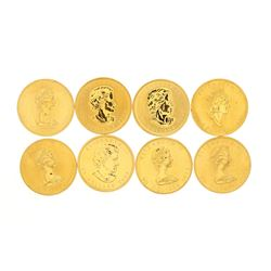 BULLION: [8] Assorted date Canadian $50.00 Maple Leaf 1 troy oz. 999.9 fine gold coins