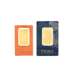 BULLION: [1] PAMP Suisse Lady Fortuna .9999 fine gold bar; C110821 BULLION: [1] Valcambi Suisse .999