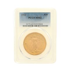 COIN: [1] 1922 St. Gaudens $20 Gold coin; PCGS MS 62; 33232808