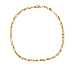 CHAIN: [1] 14ky stamped Cuban link chain, 36 inches long, 11.20mm wide; 350.6 grams.