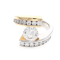 RING: Lady's 14ky&w round brilliant cut diamond crossover motif engagement ring; 1 (ctr) rb dia, app
