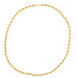 """NECKLACE: [1] 10kt yellow gold rope necklace, 6.5MM wide, 28"""" long; 140.6 grams"""