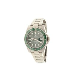 WATCH: [1] Stainless Steel Rolex Oyster Perpetual Submariner wristwatch; Green dial with lumen hour