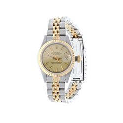 WATCH: [1] Stainless steel and 18 karat yellow gold ladies Rolex Oyster Perpetual Datejust watch wit
