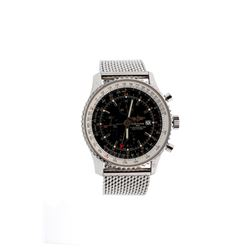 WATCH: [1] Stainless steel gents Breitling World Navitimer GMT Chronograph watch with a black dial a