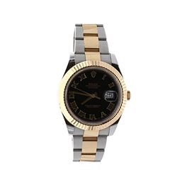 WATCH: [1] Stainless steel and 18KYG gents Rolex Oyster Perpetual DateJust watch with a black Roman