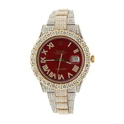 WATCH: [1] Man's S/steel Rolex Oyster Perpetual Date-just watch,  after market Red diamond dial  and