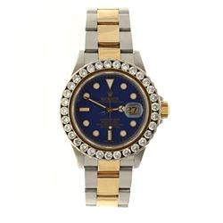 WATCH: [1] Man's S/Steel & 18KYG Rolex Oyster Perpetual Submariner, blue dial dot markers, non Rolex