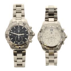 WATCH: [1] Man's S/Steel  Tag Heuer watch, 43.0mm case, rotating bezel, date @ 12, white dial w/stic