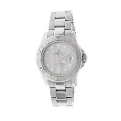 WATCH: [1] S/Steel Man's Rolex Oyster Perpetual Yachtmaster, silver dial, white markers, Plat. rotat