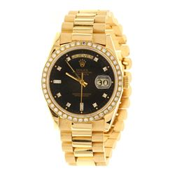 WATCH: [1] Man's 18KYG Rolex Oyster Perpetual Presidential Date/Day watch, Aftermarket Rolex black d