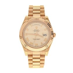 WATCH: [1] Man's 18kt Everose Rolex Oyster Perpetual President Day/Date watch, cream color dial, rom