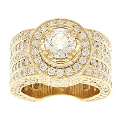 RING: [1] 14 karat yellow gold ring set with 253 round diamonds, approx. 6.33 carats total weight, G