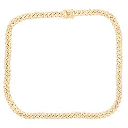 NECKLACE: [1] 14 karat yellow gold Cuban link chain necklace set with 774 round diamonds, approx. 15