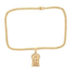 """NECKLACE & PENDANT: [1] 14kt yellow gold Cuban link necklace, 9.30MM, 28""""; [1] 14kt yellow and white"""