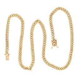 """NECKLACE: [1] 14kt yellow gold Cuban link necklace, 7.5MM wide, 30"""", Double safety clasp; 122.8 gram"""
