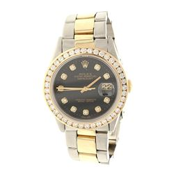 ROLEX: St.steel/14ky Rolex Oyster Perpetual DateJust watch; 35mm case, black dial with diamond marke