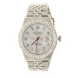 ROLEX: St.steel Rolex Oyster Perpetual DateJust watch; 36mm case, mother of pearl dial with diamond