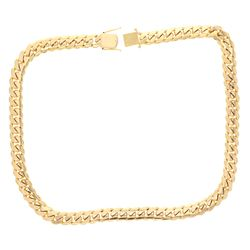 CHAIN: [1] 10ky stamped Cuban link chain; 34 inches long, 17.45mm wide, box clasp with two safeties;
