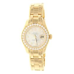 WATCH: [1] 18KYG Lady's Rolex Oyster Perpetual Pearl Master Date, MOP dial, 32 diamond bezel, 29.0mm