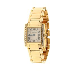 WATCH: [1] Lady's 18KYG  Cartier Tank Anglaise, MOP dial, roman numerals, 12 diamonds on sides (not
