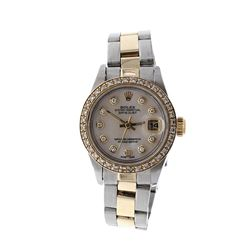 WATCH: [1] Lady's 18KYG and S/Steel Rolex Oyster Perpetual DateJust watch, MOP dial, non Rolex diamo