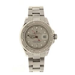 ROLEX: St.steel with platinum Rolex Yachtmaster watch, 40mm case, grey dial with luminous markers, b