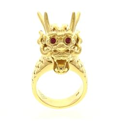 RING: 18ky stamped dragon ring, size 8, (2) rd ruby, 2.0mm =est. 0.10cttw, Good/6-6 red/SI1; 53.9 gr