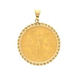 PENDANT: 14ky tested pendant with (1) 1947 Mexico 50 Peso gold coin; 47.1 grams.