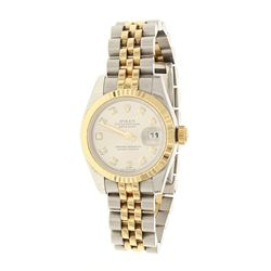 ROLEX: Steel/18k yellow gold Rolex Oyster Perpetual Lady DateJust watch, 26mm case, silver dial with