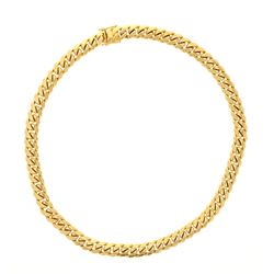 CHAIN: [1] 10ky stamped Cuban link chain, 30 inches long, 15.78mm wide; 499.6 grams.