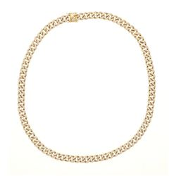 """NECKLACE: [1] 14kt yellow gold curb link necklace set with clear synthetic stones; 30"""" long x 0.5"""" w"""