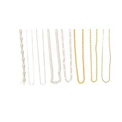 CHAINS: [3] 14k gold chains, 23 inches to 30 inches long; 50.4 grams. CHAINS: Three (3) 18k gold cha