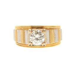 RING: 18k yellow gold ring, size 8; (1) rb diamond, 6.53mm x 6.52mm x 3.89mm = an estimated  1.00 ca